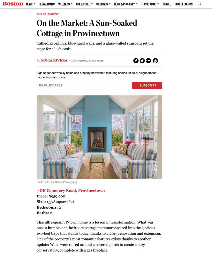Boston Magazine: On the Market: A Sun-Soaked Cottage in Provincetown